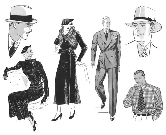 General fashion sketches of 1930's fashion.
