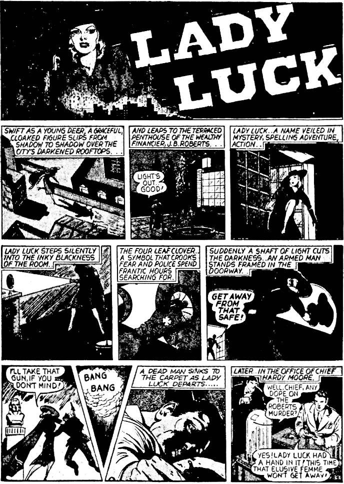 8a15a82459c One of the earliest female superheroines, she first appeared in June of  1940. She was a rich young lady who appeared in the guise of Lady Luck to  fight ...